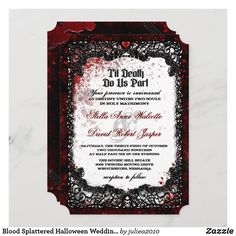 Blood Splattered Halloween Wedding Invitation Halloween Bride, Halloween Fun, Unique Invitations, Wedding Invitation Design, Halloween Wedding Invitations, Romantic Wedding Receptions, Ghost And Ghouls, Colored Envelopes, Envelope Liners