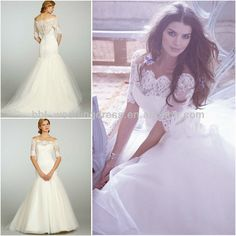 2013 new design lace half sleeve off the shoulder wedding dresses with sleeves