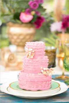 Sweetest Cake of Three Tiers of Pink Frills