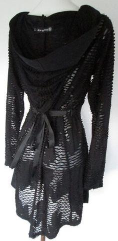 PLASTIK WRAP Cyber Goth Hooded Lacy Black Zip Top L   eBay