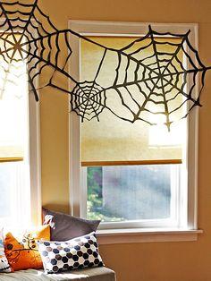 #Halloween Trash Bag Spider Webs (http://blog.hgtv.com/design/2013/10/31/daily-defright-halloween-trash-bag-spider-webs/?soc=pinterest)