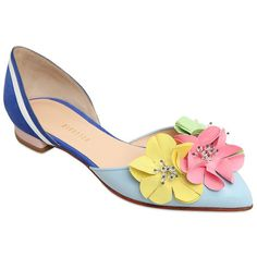 10mm Heel. Pointed toe. Patent leather heel detail. Flower appliqués. Position of flower colors may vary. Rhinestones. Leather lining. Leather sole