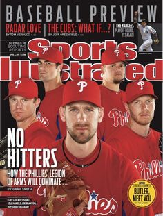"""""""The Four Aces"""" (Halladay, Lee, Hamels, Oswalt) and Blanton on the cover of SI in 2011"""