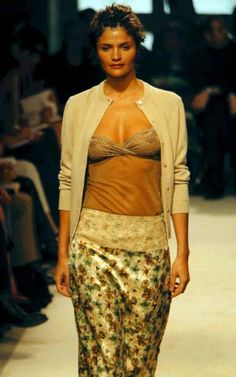 Helena Christensen looked super cosy in Collette Dinnigan's lingerie-inspired thrift shop show in 1997