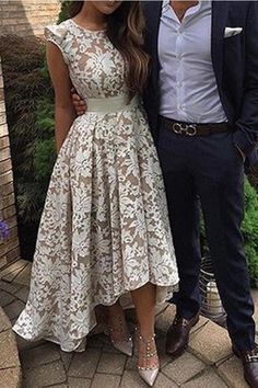Prom Dresses For Teens, Pretty Jewel Cap Sleeves High Low Ivory Lace Prom Dress with Sash Short prom dresses and high-low prom dresses are a flirty and fun prom dress option. Homecoming Dresses High Low, Elegant Bridesmaid Dresses, Lace Homecoming Dresses, Prom Dresses For Teens, Prom Dresses 2017, Lace Party Dresses, Prom Dresses With Sleeves, Bridal Dresses, Dress Lace