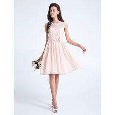 Knee-length+Lace+Bridesmaid+Dress+A-line+Scoop+Plus+Size+/+Petite+with+Flower(s)+/+Lace+–+USD+$+85.49