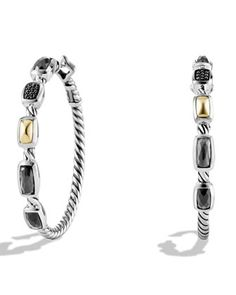 Confetti+Hoop+Earrings+with+Crystal,+Black+Diamonds,+and+Gold+by+David+Yurman+at+Neiman+Marcus.