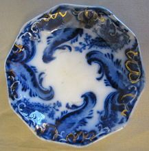Lovely Flow Blue Butter Pat, ARGYLE, Grindley, ca 1896 (2 Available)