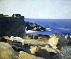 Square Rock, Ogunquit by Edward Hopper. Museums: The Whitney Museum of American Art; Whitney Museum of American Art, New York; Medium: Oil on canvas; American Realism, American Artists, Landscape Art, Landscape Paintings, Edward Hopper Paintings, Monhegan Island, Whitney Museum, Seascape Paintings, Art History
