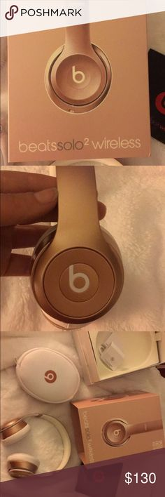 Limited Edition Rose Gold Beats by Dr. Dre Authentic wireless Beats by Dr. Dre. Limited Edition Rose Gold. I bought these off Mercari for $200 and received them today. The seller told me they were brand new. They were not. They won't sync with my phone to use wirelessly. The DO work when using the cord like normal headphones. The sound quality is AMAZING. I would keep but I want wireless ones to use at the gym. They're in mint condition. Other than not being able to connect wirelessly, they…