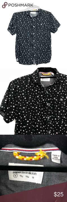 "Paper Denim & Cloth Boys (kids) Stars Button Down Paper Denim & Cloth Boys (kids) Short Sleeve Stars Print Button Down.  Approx 17.5"" armpit to armpit and 23"" length. 100% Cotton.  Excellent Condition.  A1. Paper Denim & Cloth Shirts & Tops Button Down Shirts"