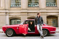 #montreal old port #engagement photos #red car