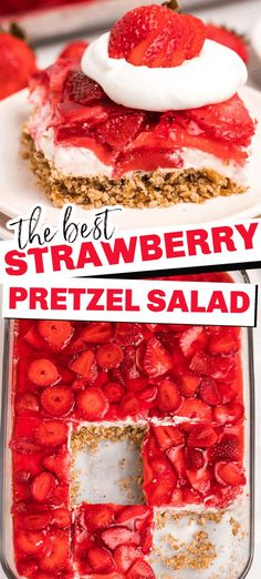 Strawberry pretzel salad is a delicious combination of sweet and salty which makes this fresh desser Strawberry Pretzel Salad, Strawberry Recipes, Pretzel Jello Salads, Strawberry Cream Cheese Dessert, Strawberry Salads, Strawberry Kitchen, Dessert Simple, Yummy Treats, Yummy Food