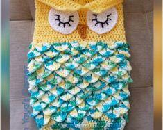 Crochet Baby Owl Cocoon Baby Sack Sleeping Owl by InYayasCorner