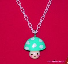 Teal and Pink Kawaii Mushroom Necklace by Pinkspiderwebs on Etsy