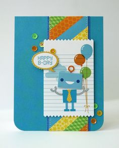 Snippets By Mendi: Create Magazine: Doodlebug Hip Hip Hooray Robot Birthday Card for boys