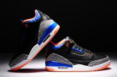Air Jordan Retro 3 Shoes Iii Mens Black Blue New Air Jordan 3 aacc6ad893d