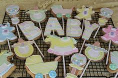 Baby shower cookie pops