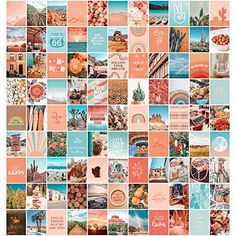 Peach Aesthetic Wall Collage Kit, Room Decor for Teen Girls, Peachy Teal Wall Art Print, Dorm Photo Collection, Boho Posters for Room Aesthetic… - 100 set Peach, 8x10 inch