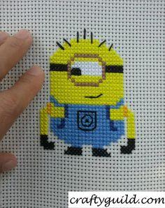 Carl the Minion Free Cross Stitch Pattern | Crafty Guild-- For Alena's Birthday