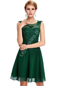 Zielona sukienka na wesele, komunie, połowinki, poprawiny z perłami   zielone…