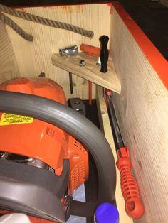 Chainsaw storage box tool storage