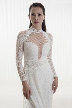 Những mẫu áo dài cưới ren trắng tinh khôi cho cô dâu