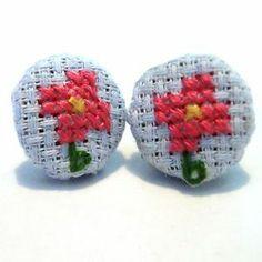 SALE! pink flower cross stitch earrings