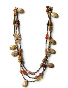Beige Brown Bronze Natural Stones Necklace Chunky Extra Long Picture Jasper Statement Necklace Semiprecious OOAK Unique ALFAdesigns (139.99 USD) by ALFAdesigns