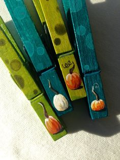 PUMPKIN CLOTHESPINS teal and green hand painted by SugarAndPaint