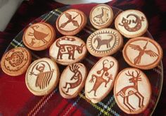 Collection 12 Rock Art Petroglyph Design Clay Refrigerator Magnets