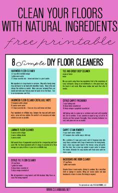 '8 Simple DIY Floor Cleaners + Free Printable...!' (via Clean Mama)