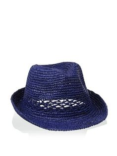 54% OFF Straw Studios Women's Crochet Band Fedora, Navy