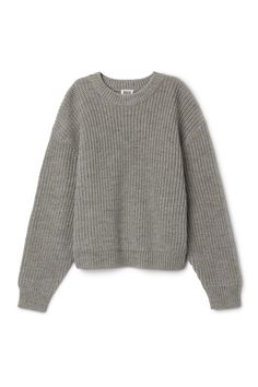 Front image of Weekday huge cropped knit sweater in black de49f63c1c030