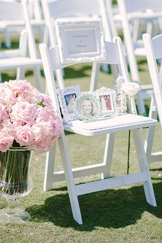 """The bride placed an """"In Memoriam"""" chair in the front row of the ceremony wit. The bride placed an """"In Memoriam"""" chair in the front row of the ceremony wit. Wedding Ceremony Ideas, Fall Wedding, Wedding Events, Our Wedding, Wedding Photos, Dream Wedding, Wedding Vows, Kids In Wedding, Classy Wedding Ideas"""