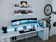 Creating a computer game room in your house can be truly hard, yet these video game room design images will certainly assist you Setup Desk, Gaming Desk Setup, Diy Computer Desk, Home Office Setup, Home Office Design, Pc Setup, Office Ideas, Office Workspace, Game Room Design