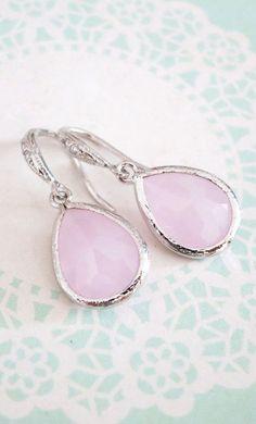 Sophia Pink Glass Teardrop Earrings Necklace by GlitzAndLove