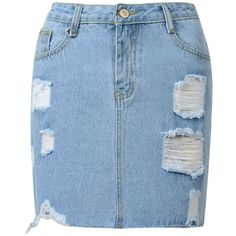 Choies Blue Denim High Waist Ripped Pencil Mini Skirt (73 BRL) ❤ liked on Polyvore featuring skirts, mini skirts, bottoms, denim, denim skirts, blue, distressed denim mini skirt, high-waisted pencil skirts, short mini skirts and high waisted denim skirt