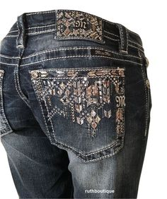 Miss me crossing path relaxed boot cut jeans