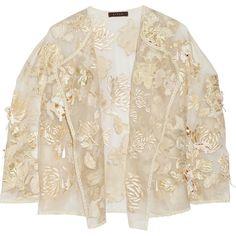 Biyan Kiku embellished brocade and silk-organza jacket ($1,085) ❤ liked on Polyvore featuring outerwear, jackets, coats, tops, embellished jacket, sequin jacket, biyan, sheer jacket and flower jacket