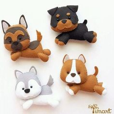 Create a Unique Bouquet of Felt Hearts – DIY Crafts – Guidecentral – Needle Felting Felt Crafts Diy, Dog Crafts, Dog Ornaments, Felt Christmas Ornaments, Diy Y Manualidades, Felt Dogs, Felt Patterns, Felt Applique, Felt Fabric