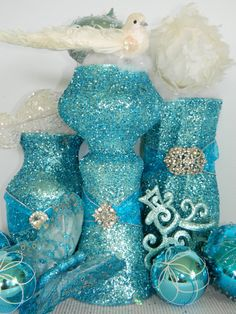 Glittered dollar store vases for party. Marriage Reception, Wedding Ceremony, Wedding Centerpieces, Wedding Decorations, Holiday Centerpieces, Wedding Themes, Wedding Styles, Summer Wedding, Wedding Day