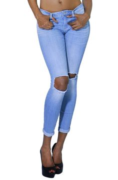 Womens Casual Distressed Ripped Cuff Bottom Skinny Jeans with Pockets (SIZE : 11, DENIM-JBWV74102)