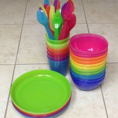 IKEA kids plates, bowls, cups, & flatware. Love the bright colors! perfect size & dishwasher safe.