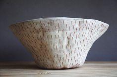 "Hand Carved Stoneware Table Planter / ""Dash"" Sgraffito Planter in Orange & White Stoneware / Hand-Built / Succulent, Cactus, Herb, Air Plant"
