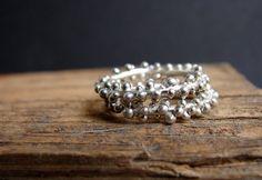 Stack frizzante anelli argento granulato anelli gocce di Nafsika