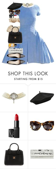 """""""Checkerboard Floor."""" by quiche ❤ liked on Polyvore featuring Intimo, Chanel, NARS Cosmetics, Karen Walker and Christian Louboutin"""