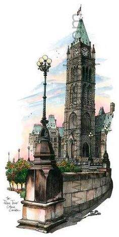 David Crighton - Ottawa - Parliament Buildings 1 Ottawa Parliament, Ottawa River, Famous Buildings, Victorian Architecture, Urban Sketching, Canadian Artists, Art Store, Vintage Travel Posters, Places Ive Been
