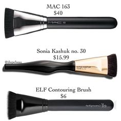 DUPE PROOF Contour brushes can get pretty pricey, but with these ALTERNATIVES to @maccosmetics BRUSH 163 ($40) will HELP YOU SAVE #soniakashuk BRUSH #30 ($15.99) is available for purchase @target & the @elfcosmetics CONTOURING BRUSH ($6) is available online & in most drugstores