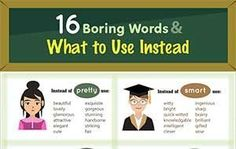 16 Boring Words & What to Use Instead (Infographic) English Writing, English Words, English Lessons, Teaching English, Learn English, English Grammar, English Prepositions, English Vocabulary, Word Alternative